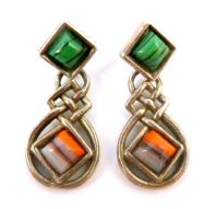 Vintage Celtic Style Faux Agate Drop Earrings By Miracle.